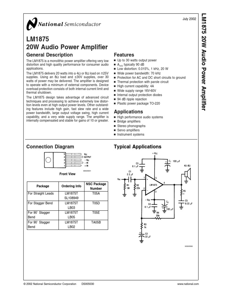 Lm1875 Amplifier Capacitor Audio Frequency 20w Based