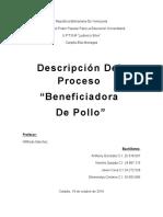 Descripcion Del Proceso Beneficio de Pollo