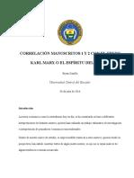 Economía Microensayo Correlación Manuscritos 1 y 2 Con El Texto Karl Marx o El Espíritu Del Mundo