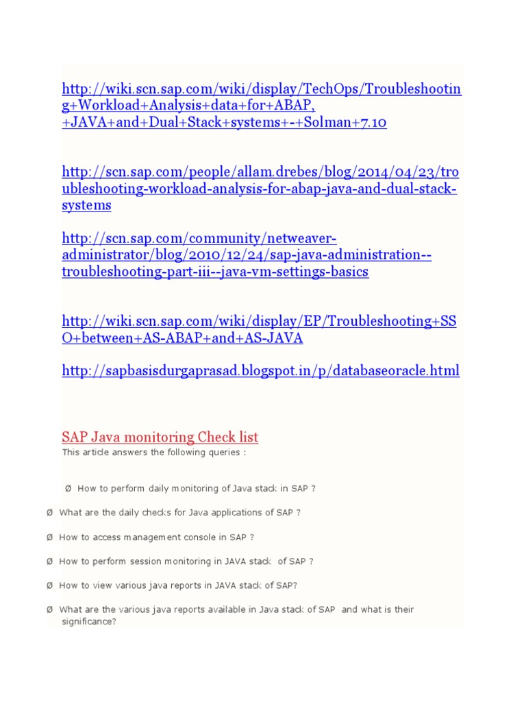 SAP Java Troubleshooting Monitoring   Java (Programming