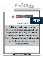 Publicacion Del Proyecto de Decreto Supremo Que Aprueba El r Resolucion Ministerial No 097 2016 Vivienda 1372346 1