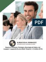 Experto en Anatomía, Fisiología y Neurología del Habla y del Lenguaje + Logopedia Escolar (Doble Titulación + 4 Créditos ECTS)
