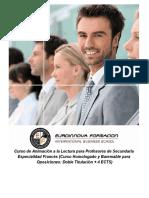 Curso de Animación a la Lectura para Profesores de Secundaria Especialidad Francés (Curso Homologado y Baremable para Oposiciones