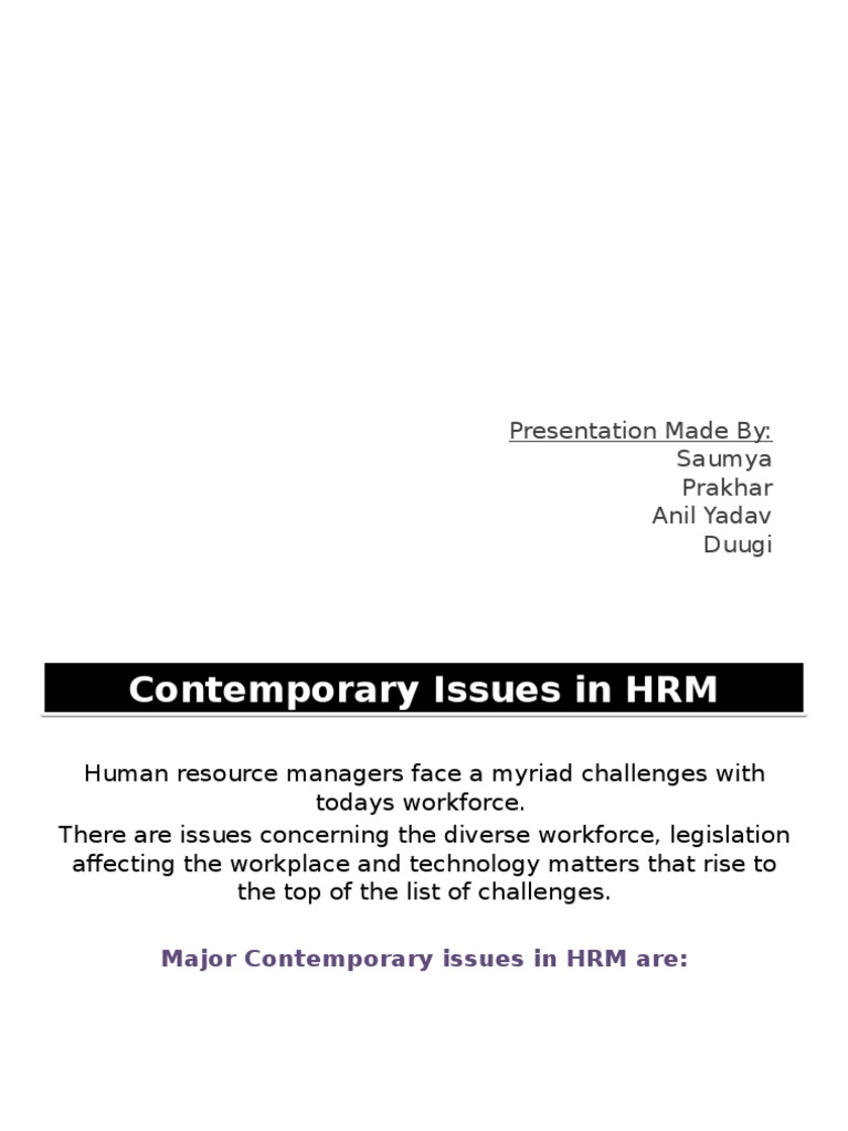 define contemporary issues in hrm