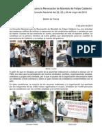 Boletin de prensa Comité Civil Nacional Nacional para la Revocación de mandato de Felipe Calderón junio 8 2010