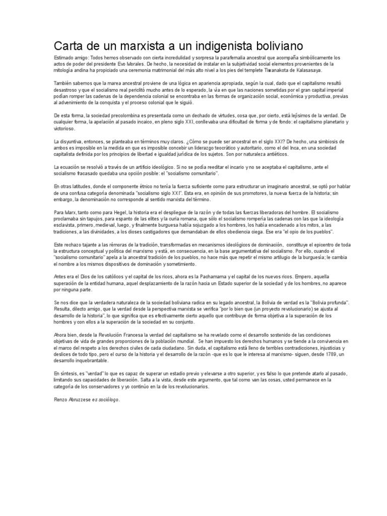Carta De Un Marxista A Un Indigenista Boliviano Marxismo