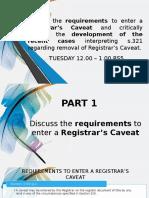 Registrar's Caveat