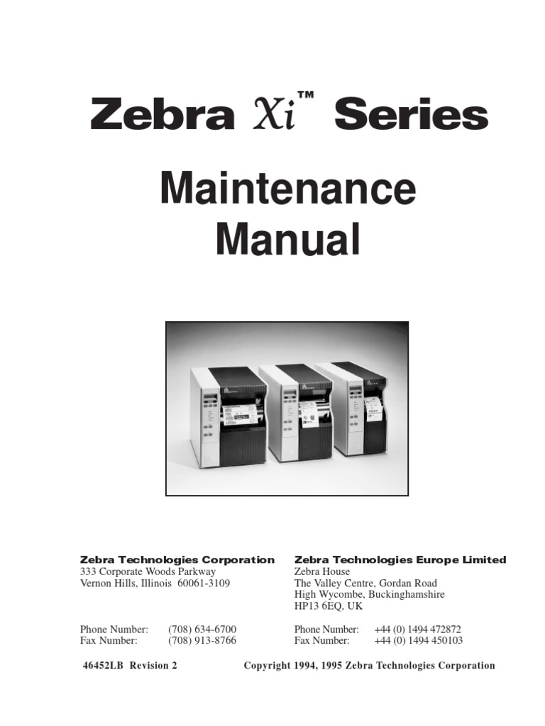 Zebra Xi Series Maintenance Manual for 105s-140xi | Electronics |  Telecommunications