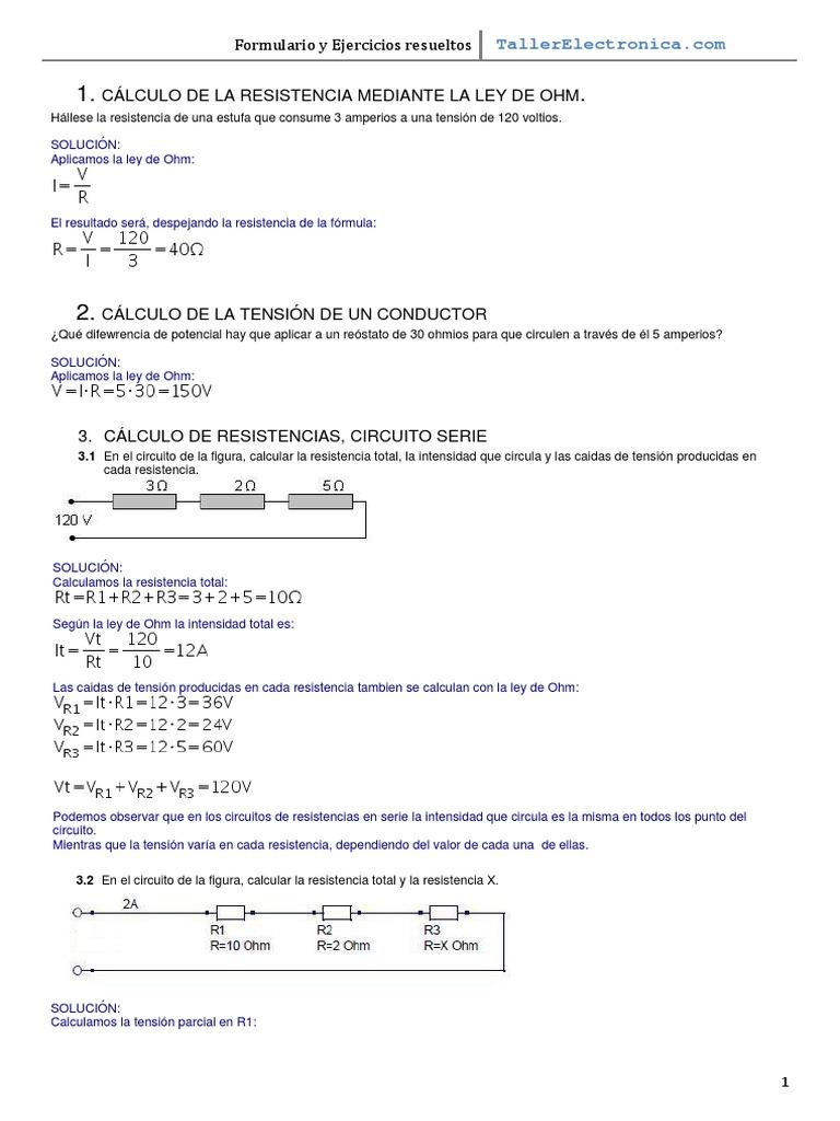 Ejercicios Formulario Ley Ohm