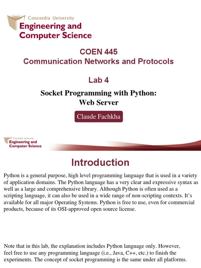 Coen445 Lab4 Socket Programming | Web Server | Hypertext Transfer
