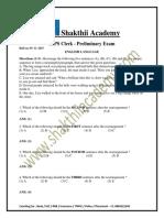 IBPS Clerk Prelimsl Previous Paper