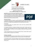 MD Occupational Health Protocol