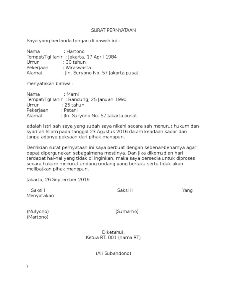 Contoh Soal Hukum Perbandingan Berganda Contoh Surat Nikah Siri Resmi