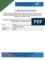 N° 2016-0026 - UNIVERSIDAD ESTATAL SOCIAL DE RUSIA - PROGRAMA DE INTERCAMBIO ACADÉMICO ESTUDIANTIL