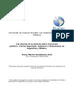 Ansolabehere, K..Los Efectos de La Justicia Sobre El Proceso Político...Cortes Supremas, Gobierno y Democracia en Argentina y México, Flacso Doctorado de Ciencias Sociales