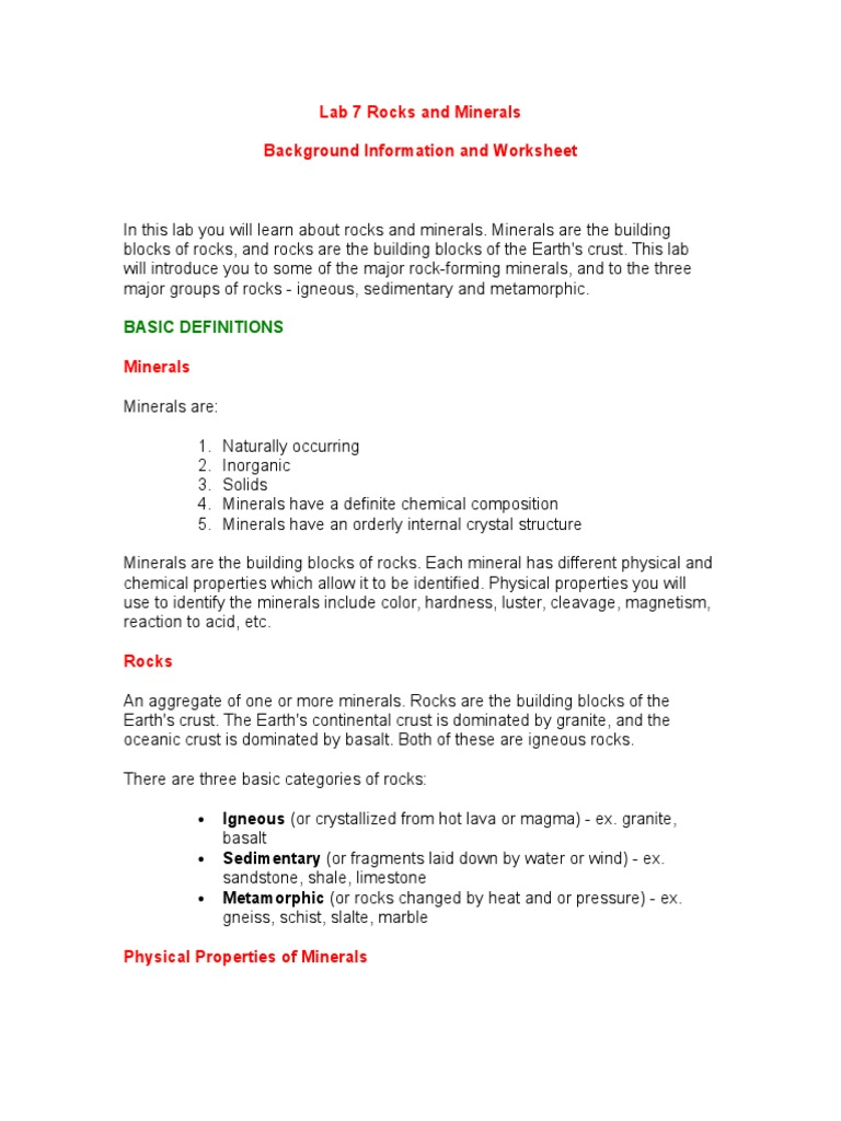 Lab 7 Rocks And Minerals Background Information Doc Igneous Rock