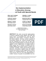 Assessing the Implementation of Inclusive Education Among Children and Youth with Special Needs