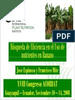 Busqueda de Eficiecia en El Uso de Nutrientes en Banano