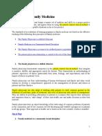 Characteristics of Family Medicine