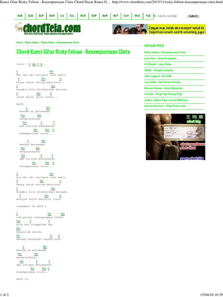 Kunci Gitar Rizky Febian Kesempurnaan Cinta Chord Dasar Kunci Gitar Lirik Lagu C Chordtela