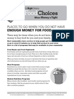 Food Choices Sheets
