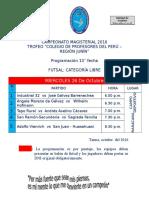 CAMPEONATO MAGISTERIAL PROGRAMACIÓN 13° FECHA FUTSAL LIBRE