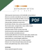 The Restaurant at CIA Copia Preview Menu