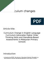 Curriculum Changes