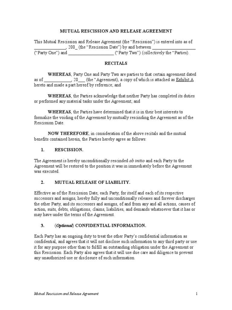 Mutual Rescission And Release Agreement 2 Rescission Jurisdiction