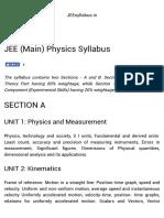 JEE (Main) Physics Syllabus - 2017-2018