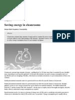 Saving Energy in Cleanrooms