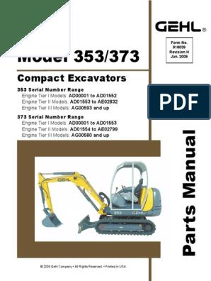 GEHL 353 373 Compact Excavator Parts   Screw   Engines