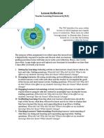 teacher learning framework  lesson reflection