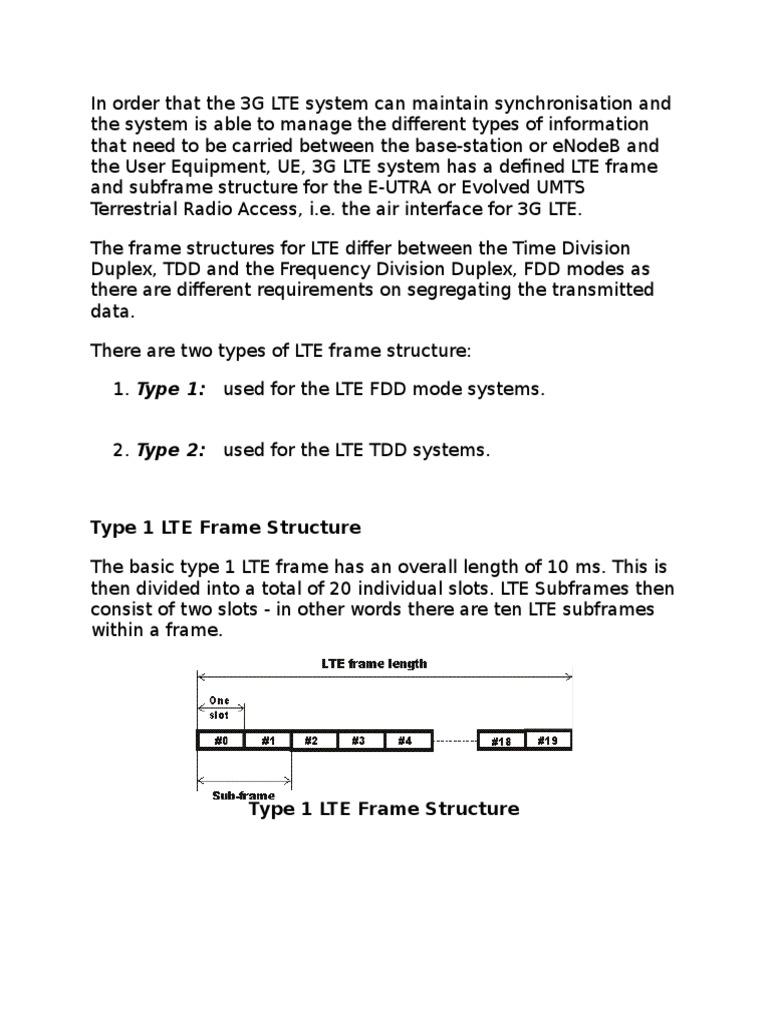 LTE subframes comparison FDD-TDD.doc | Telecommunications ...