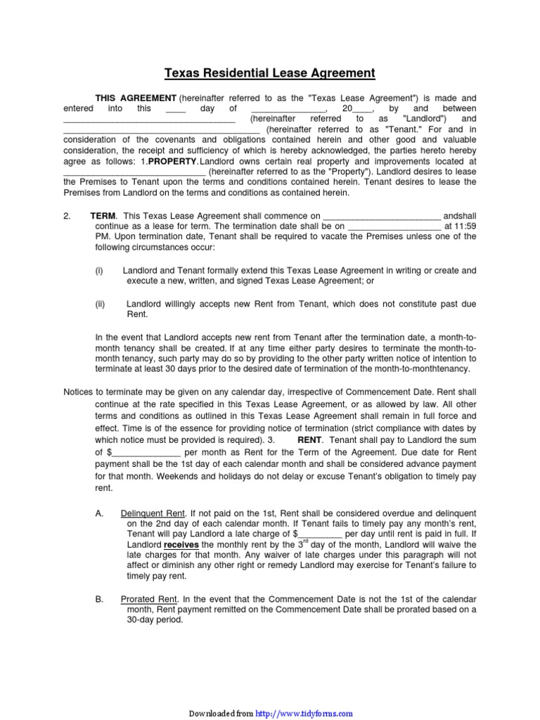 Texas Residential Lease Agreement Lease Leasehold Estate