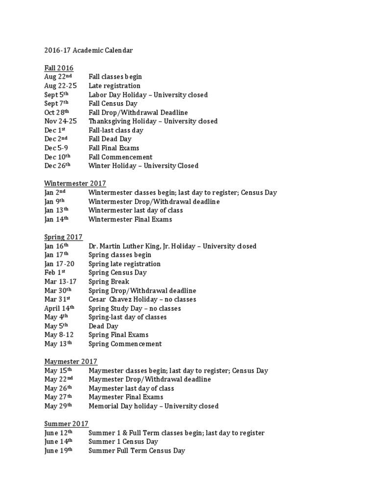 Utep Spring 2022 Academic Calendar.Utep 2016 17 Academic Calendar Academic Term Military Operations
