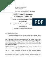 2015 Critical Procedures in Emergency Medicine