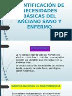 IDENTIFICACIÓN DE NECESIDADES BÁSICAS DEL ANCIANO SANO Y ENFERMO
