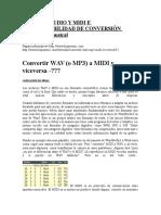 Señal de Audio y Midi e Incompatibilidad de Conversión