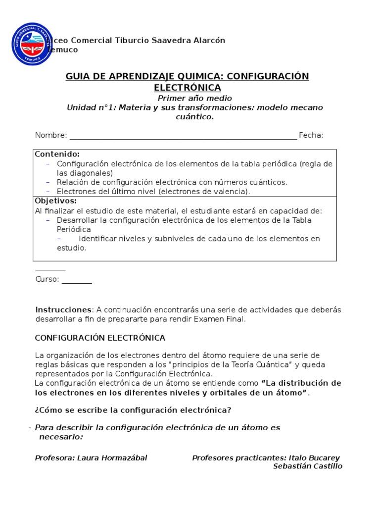 guia configuracion electronica - Tabla Periodica Con Sus Respectivas Valencias