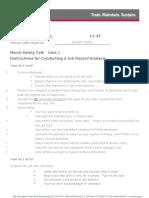Tts Instructions for Conducting a Job Hazard Analysis 2014