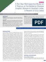 Ten Year Retrospective Study on Adult Tetanus at the Epidemic Disease