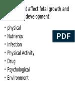 Factors That Affect Fetal Growth and Development