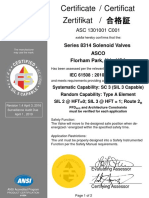 Asco Series 314 Exida Sil Certificate 2016