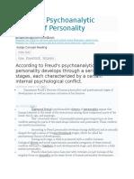 Freudian Psychoanalytic Theory of Personality