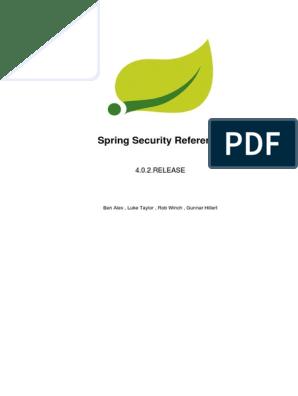 Spring Security Reference | Spring Framework | Information