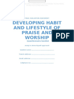 developing habit and lifestyle of praise. Final Evaluation Assesment