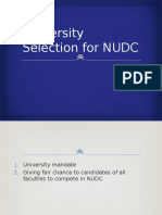 University Selection for NUDC