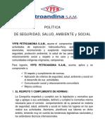 E. Política de Seguridad, Salud, Ambiente y Social YPFB PETROANDINA SAM.pdf