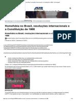 A Bahia - Homofobia No Brasil, Resoluções Internacionais e a Constituição de 1988